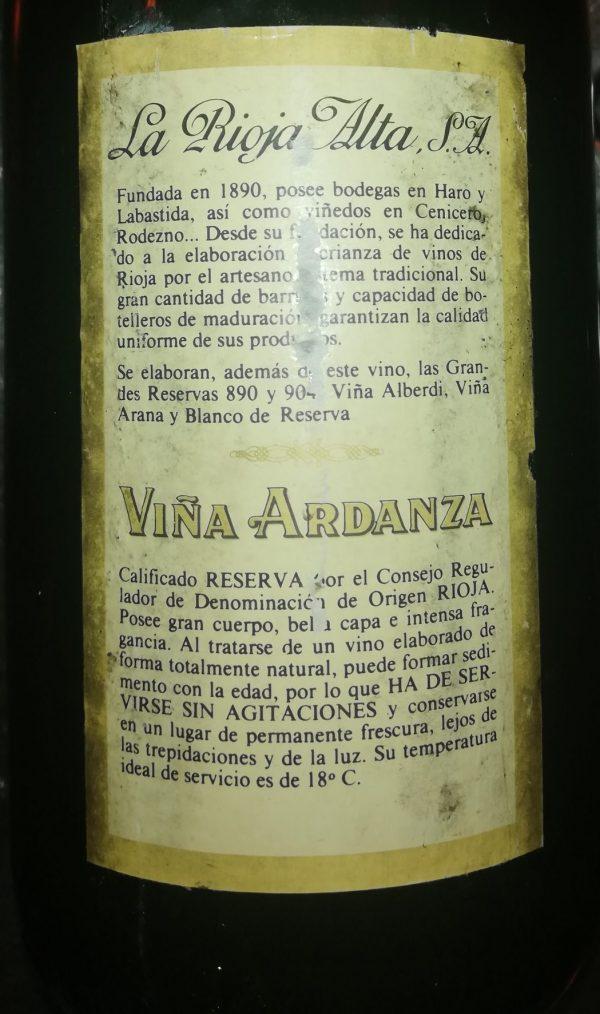 Viña Ardanza Reserva, 1985